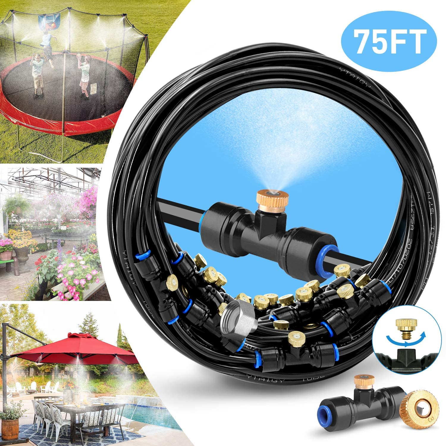 "HOMENOTE Misting Cooling System 75FT (23M) Misting Line + 28 Brass Mist Nozzles + a Brass Adapter(3/4"") Outdoor Mister for Patio Garden Greenhouse Trampoline for waterpark"