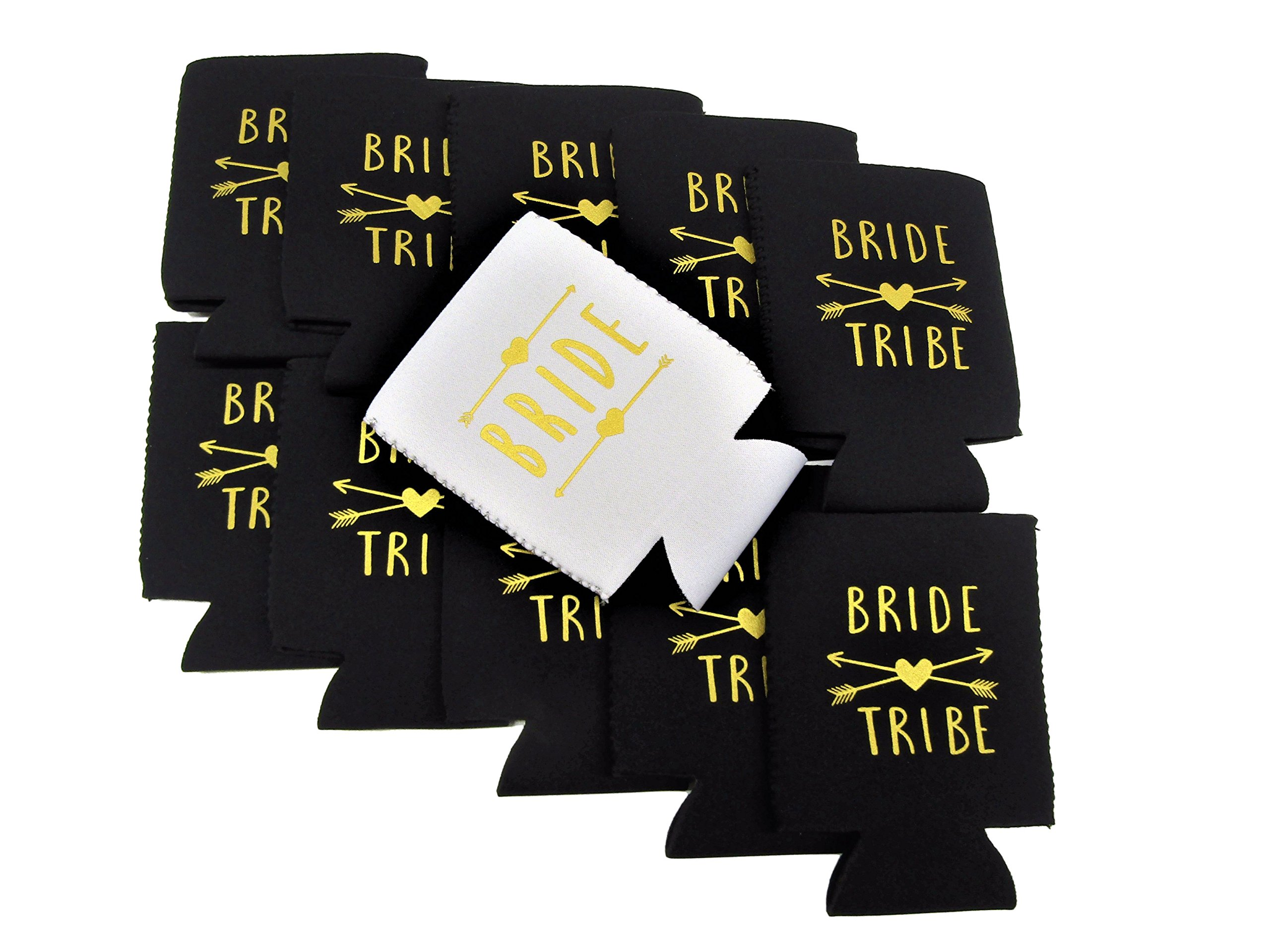 Bachelorette Party Bride and Bride Tribe Can Cooler Set - 11 Pack - INCLUDES 12 MATCHING TEMPORARY TATTOOS