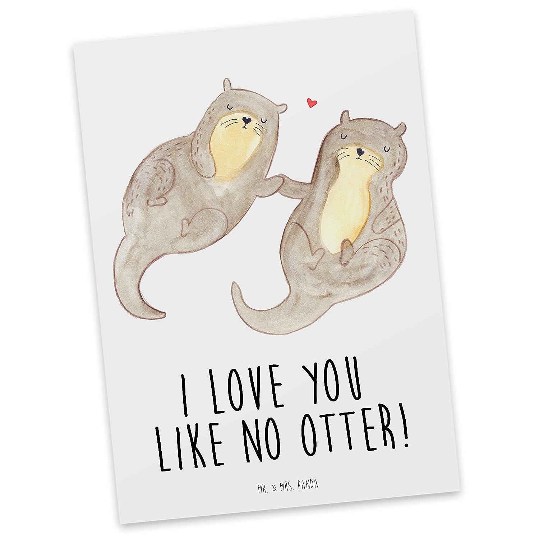 Mr. & Mrs. Panda Sprüche, Grußkarte, Postkarte Otter händchenhaltend ...