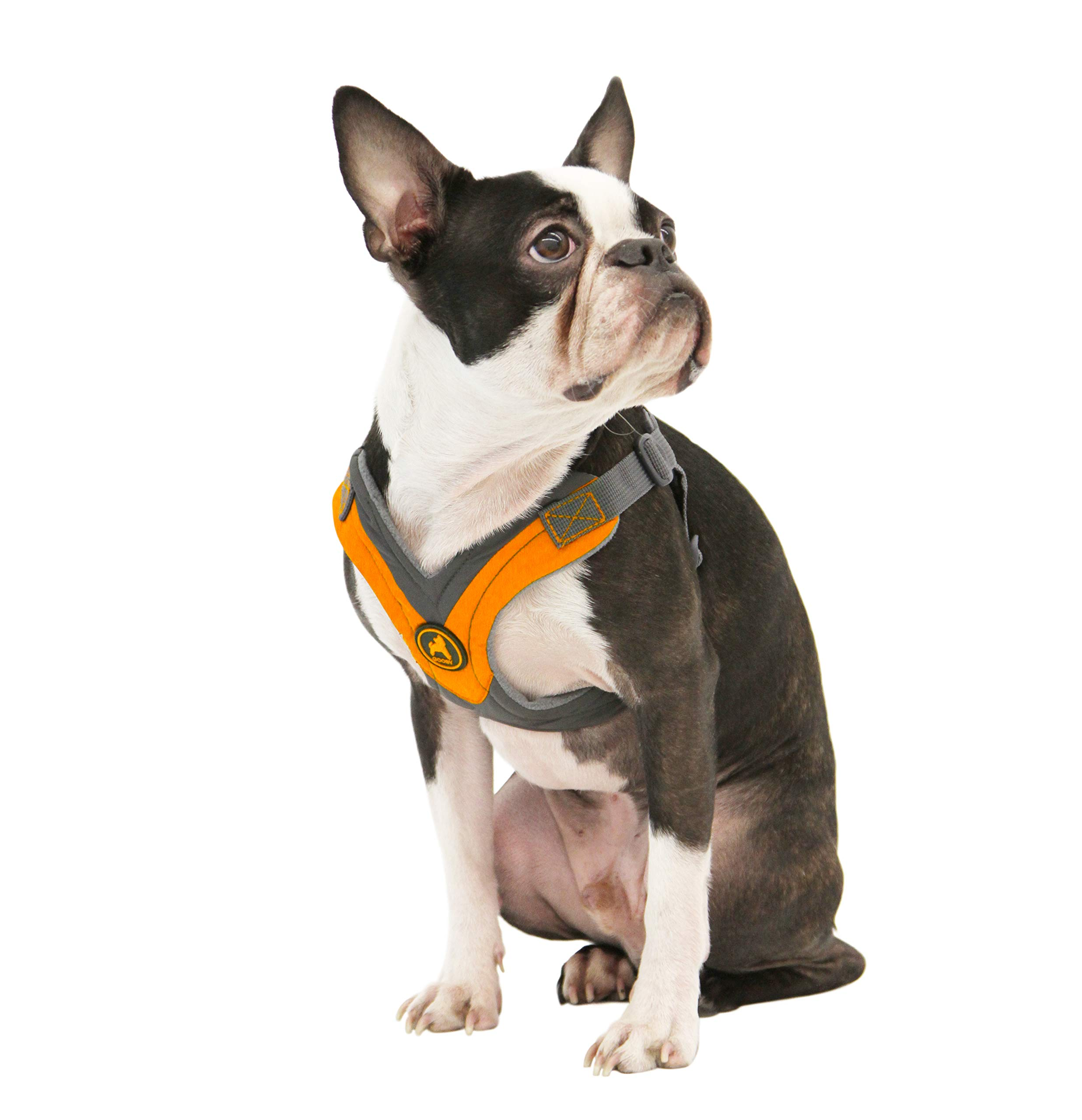 Gooby - Trekking Harness, Small Dog Fleece Lined Harness with Memory Foam Padding, Orange, Small