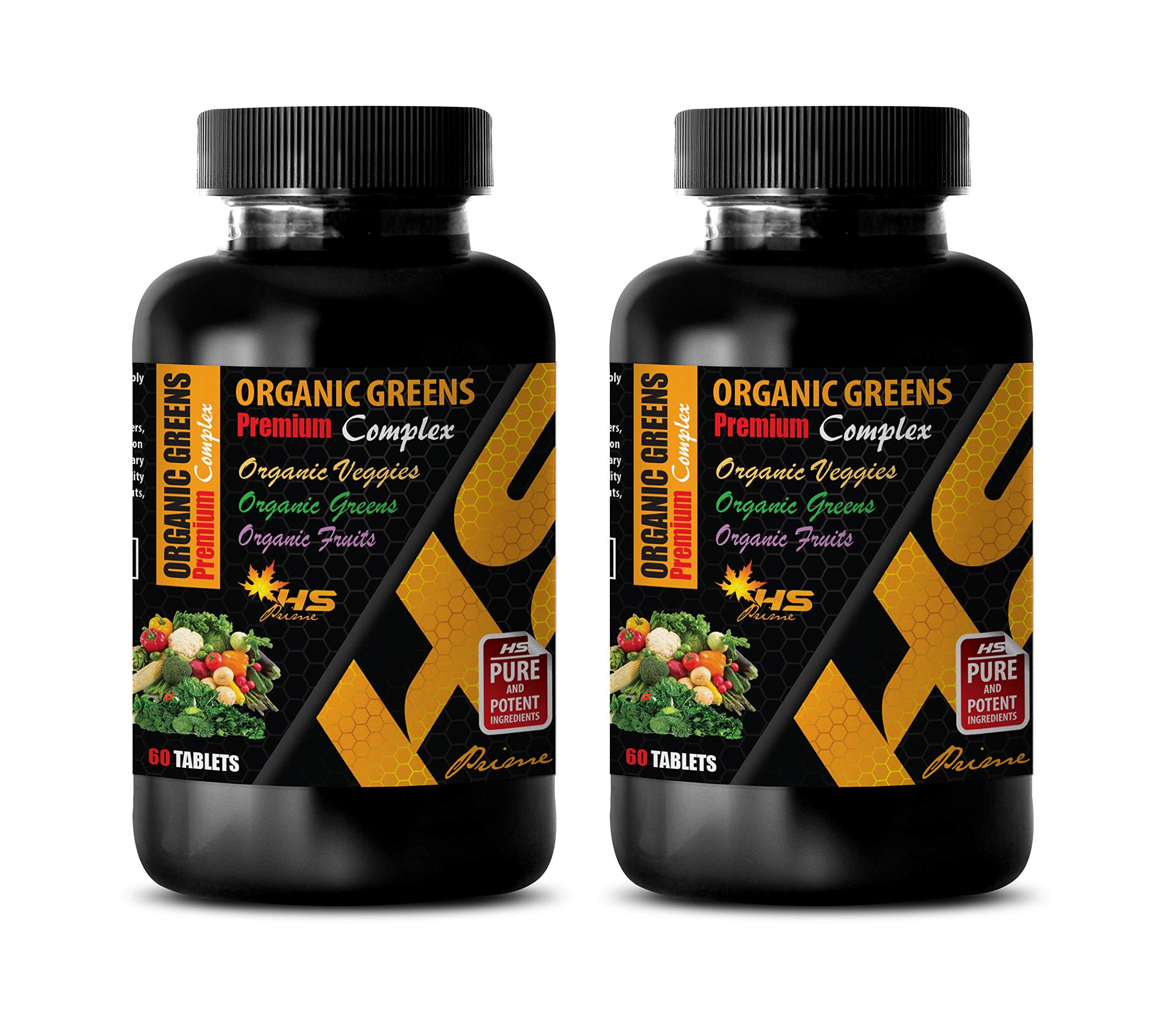 Immune System Pills Organic - Organic Greens - Premium Complex - Ginger Extract Bulk Supplements - 2 Bottles 120 Tablets