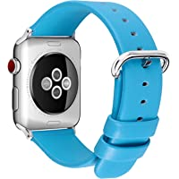 5 Colors for Apple Watch Bands 42mm, Fullmosa Show Series Calf Leather Replacement Band/Strap with Stainless Steel Clasp for Apple Watch Series 1 2 3 Sport and Edition Versions 2015 2016 2017,Red