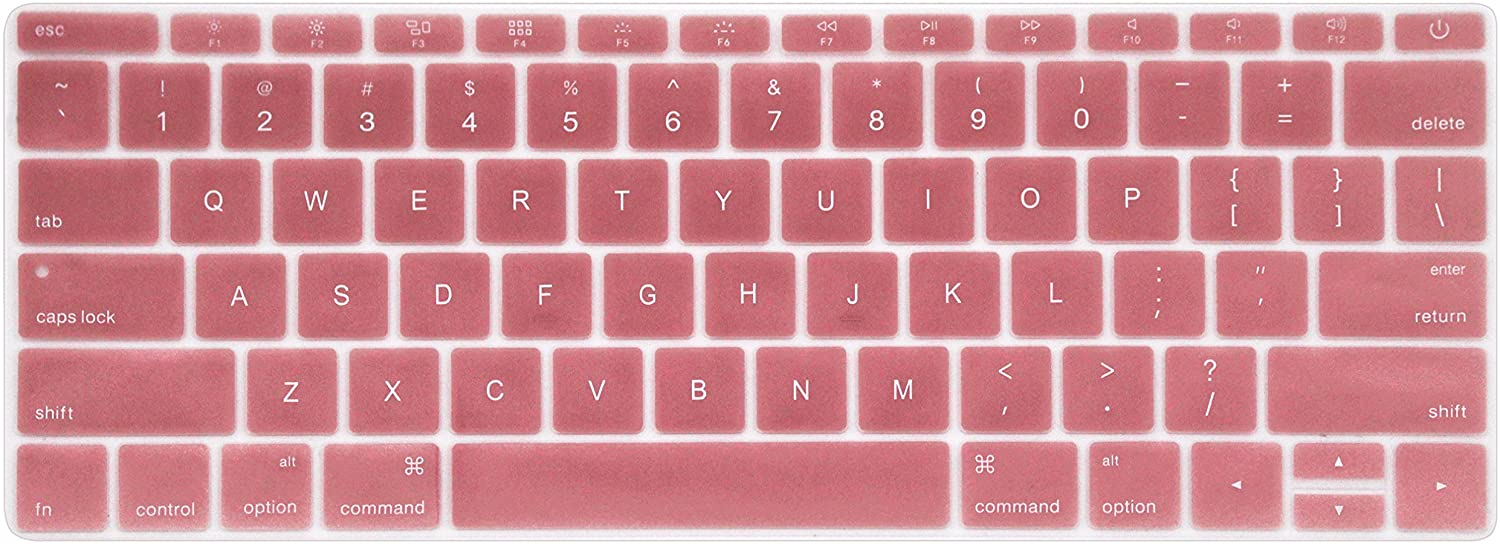Silicone Keyboard Protective Skin Protector Dust Cover for MacBook Pro 13 inch A1708 No Touch Bar (2017/2016 Release) & MacBook Pro 12 inch A1534 (2015 Version) - Rose Gold