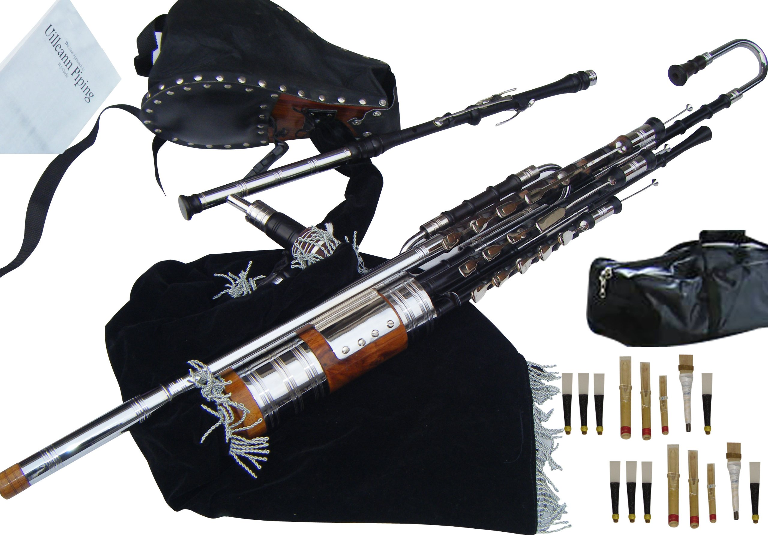 Irish Uilleann Bagpipe Full Set, with Regulators & 3 Keyed Chanter (African Blackwood) Complete Set