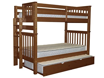 Bedz King Tall Bunk Beds Twin Over Twin Mission Style With End Ladder And A  Twin