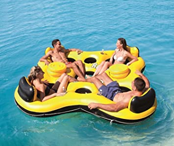 Lovely Inflatable Lake Raft Giant 4 Person Water Lounge Pool Float Ocean Floating  Huge By Bestway