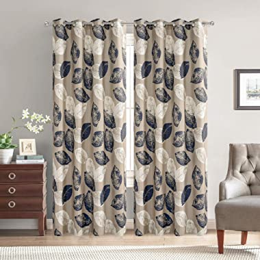 VOGOL Fashionable Curtains 84 Inches Length Navy Leaves Grommet Curtain Drapes for Kitchen, Bedroom and Living Room, Small Windows,70%-80% Light Shading, 2 Panels, W52 x L84 inch