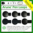 6x Arune Pen Loop - Adhesive pen & stylus holders - 3 Sizes to FIT ANY SIZE PEN - Designed for Moleskine, ipads, laptops, tablets, journals, planners, & more