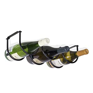 Wallniture Under Cabinet Durable Iron Wine Storage Rack for 3 Liquor Bottles (Black)