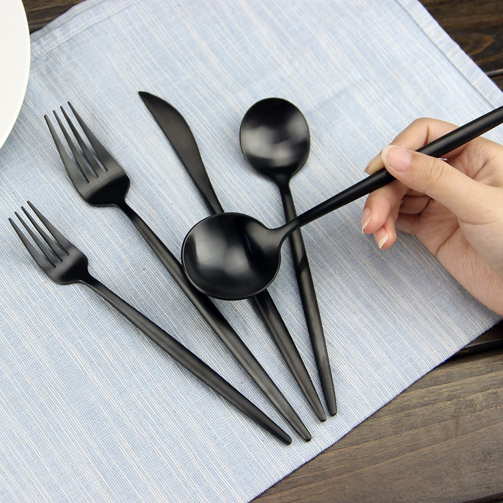 aoosy 20 pieces 18 10 stainless steel steak knife and spoon fork silverware set ebay. Black Bedroom Furniture Sets. Home Design Ideas