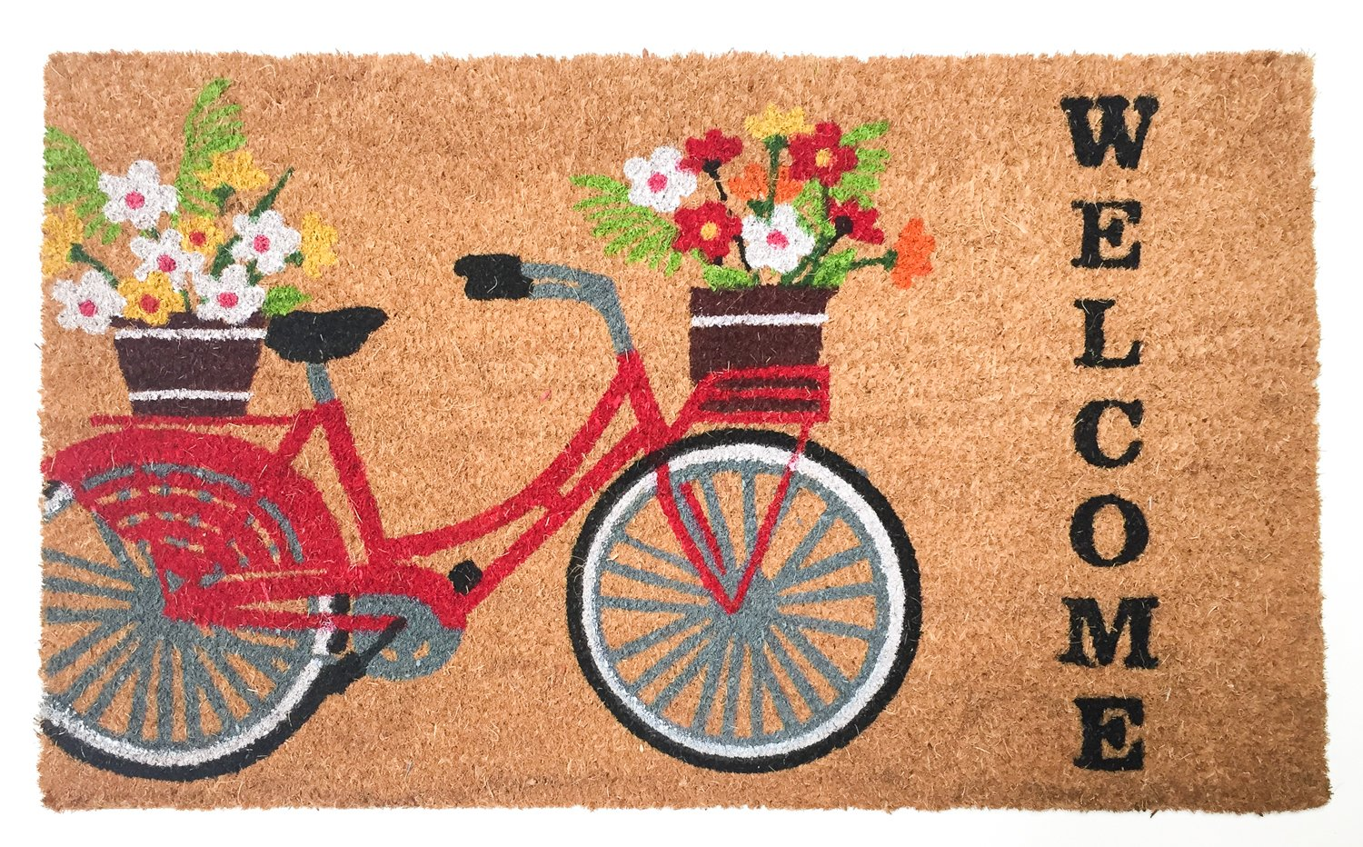 J&M Home Fashions Bicycle Welcome Vinyl Back Coco Doormat, 18 30-inch, Welcome Bicycle