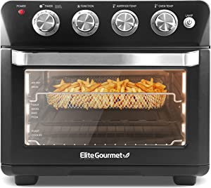 "Elite Gourmet EAF9100 Maxi-Matic Electric 25L Air Fryer Oven, 1640 Watts Oil-Less Convection Oven 12"" Pizza Extra Large Capacity, Grill, Bake, Roast, Air Fryer"