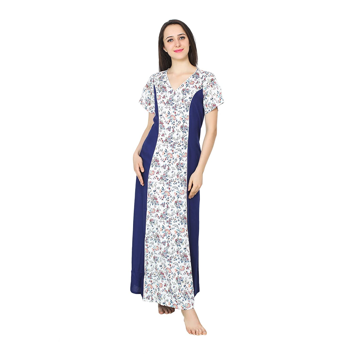 Patrorna Cotton Silk Blend Women s Princess Line Nighty Night Gown in Navy  Blue Print (Size S-7XL 53ad7a59a