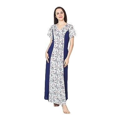 0a49774862 Patrorna Women s Empire Waist Princess Line Maternity Nighty in Navy Print (Size  S