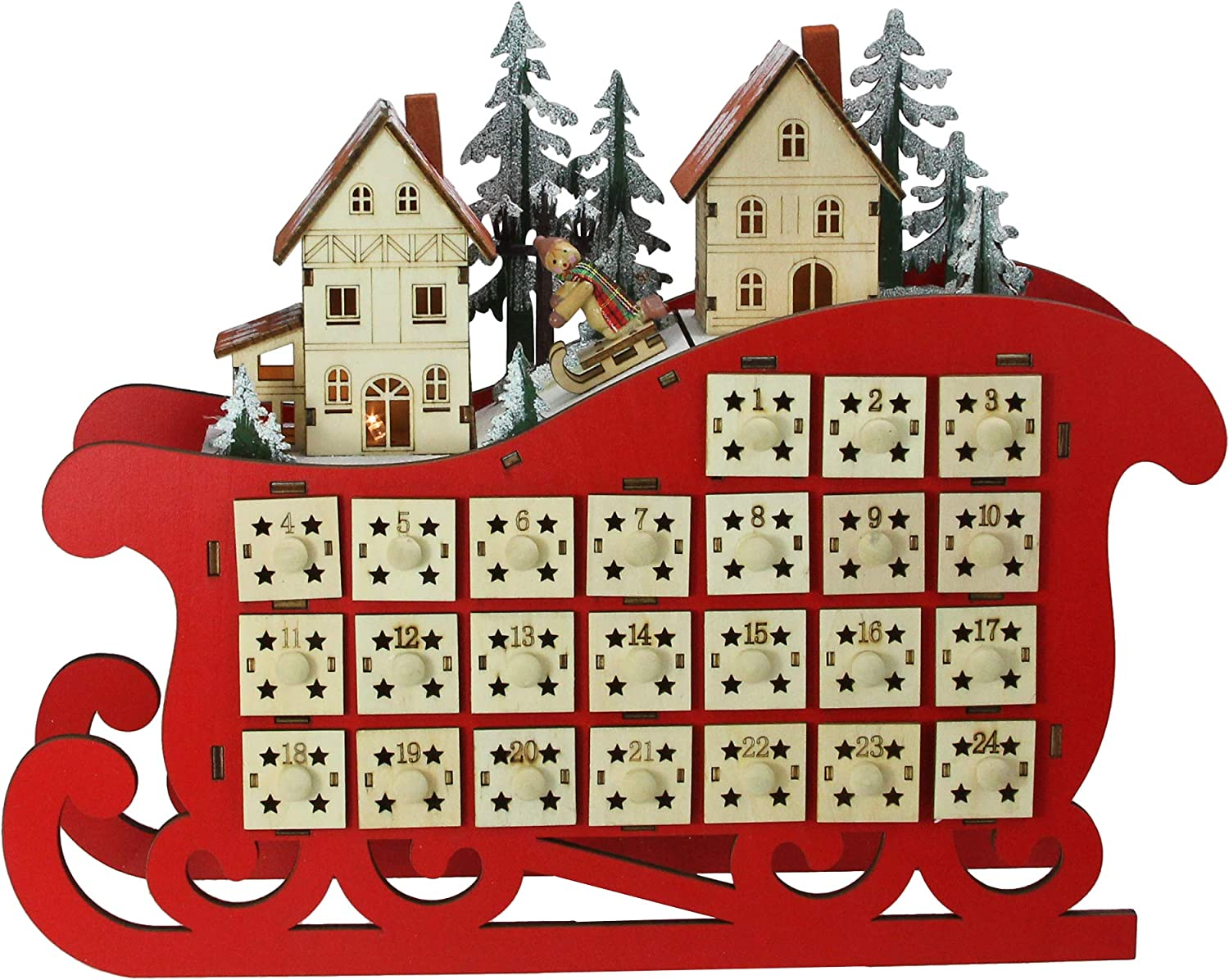 11.5 Red LED Sleigh and Village Christmas Count Down Advent Calendar