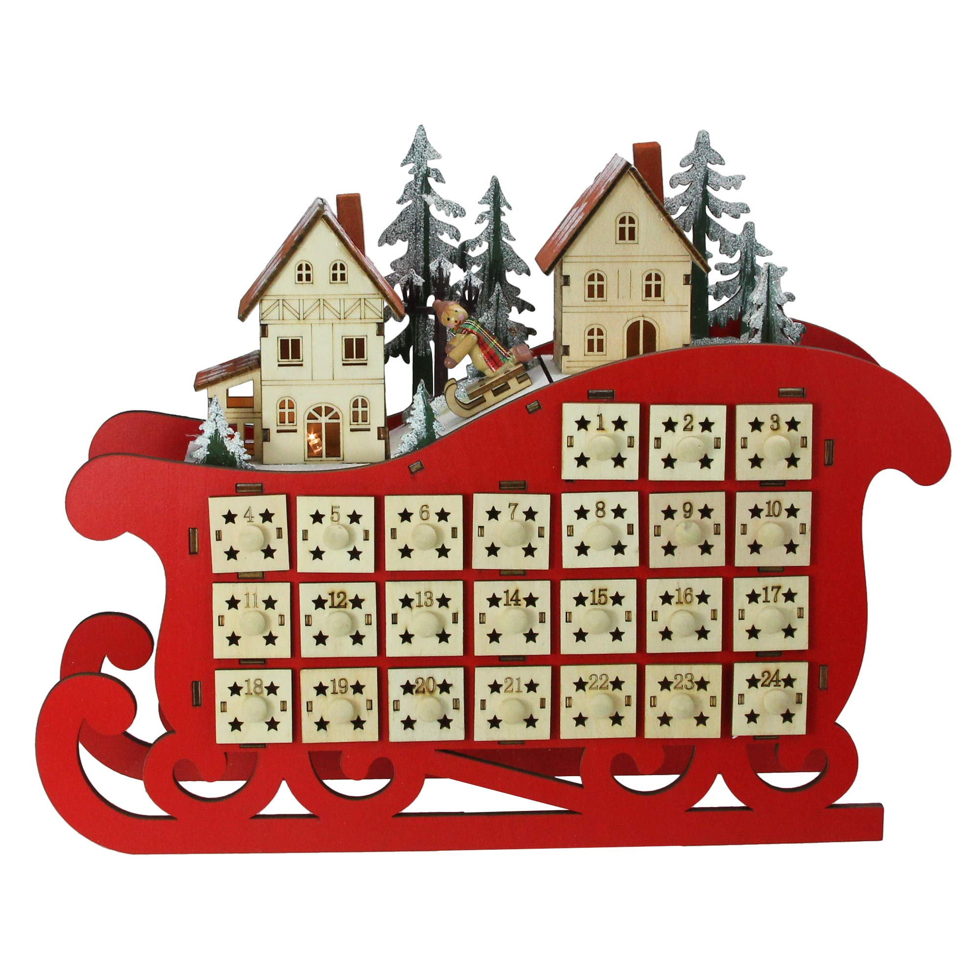 11.5'' Red LED Sleigh and Village Christmas Count Down Advent Calendar