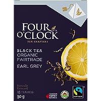 Four O'Clock Organic Fairtrade Black Tea Earl Grey, Non-GMO, Kosher, Gluten-Free, 15 Count, Pyramid, 30g