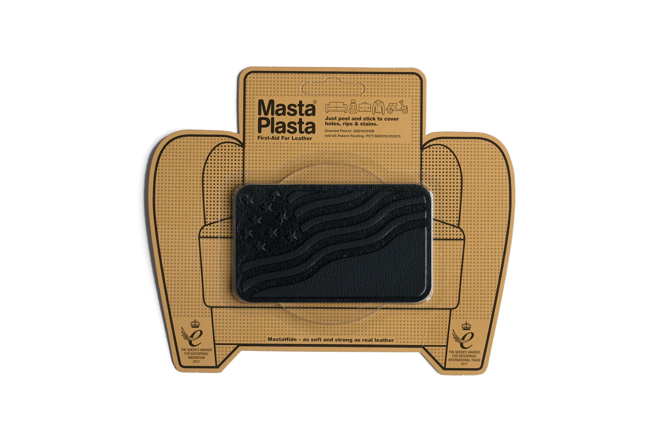 MastaPlasta, Leather Repair Patch, First-aid for Sofas, Car Seats, Handbags, Jackets, etc. Black Color, Flag 4-inch by 2.4-inch, Designs Vary