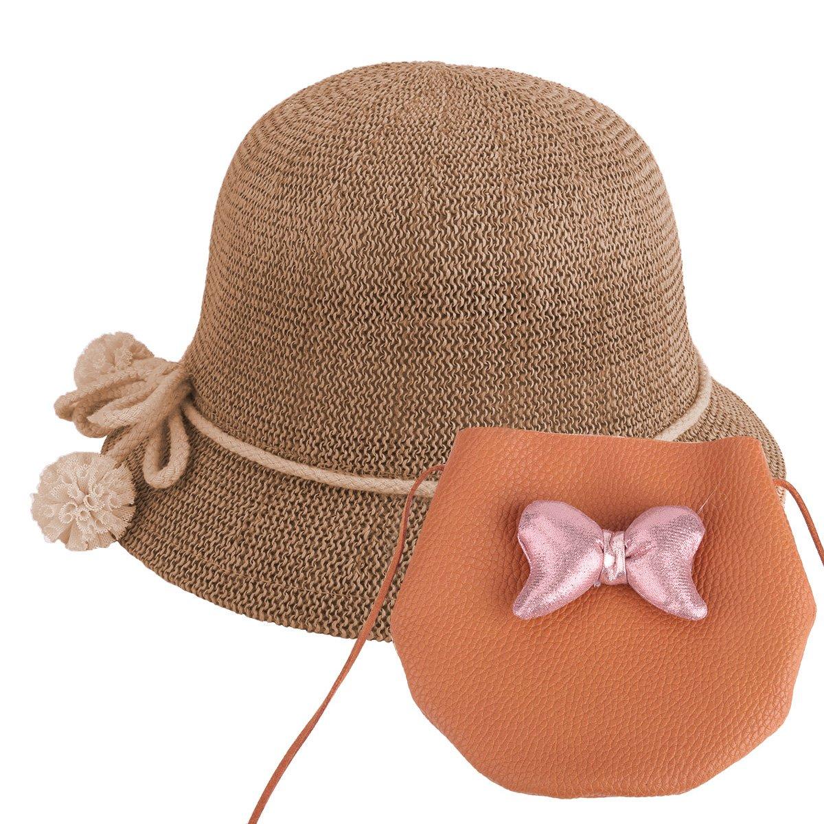 Baby Straw Hat Summer Girls Hat Purse Set Beach Floppy Hats Kids Sun Hat with Bag (Brown) by YOPINDO