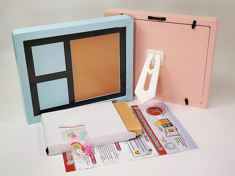 Baby Handprint Picture Frame Kit - NEW FASTER SAFER CLEANER FOAM - Footprint Keepsake Box, Gift Registry Baby Shower for Newborn Girls Boys, Non-Toxic Photo Frames Nursery Decor Kaimono kf-v0001