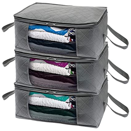 bb1d45a399a4 Woffit Foldable Storage Bag Organizers, Large Clear Window & Carry Handles,  Great for Clothes, Blankets, Towels, Winter & Summer Clothing, Closets, ...