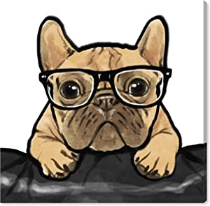 "The Oliver Gal Artist Co. Oliver Gal | Contemporary Premium Print. The Dogs and Puppies Wall Decor Collection. Brown 16"" x 16"" Nerdy Frenchman' Canvas Art"