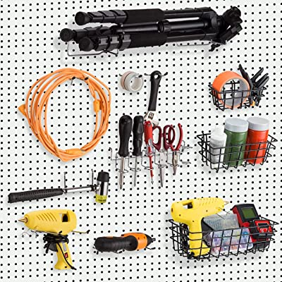 122Pcs Pegboard Hooks Assortment with 3 Pegboard Baskets Organizing Tools Garage