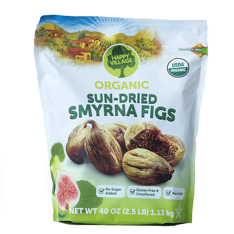 Happy Village Organic Sun Dried Smyrna Figs (Net Wt 40 Oz),