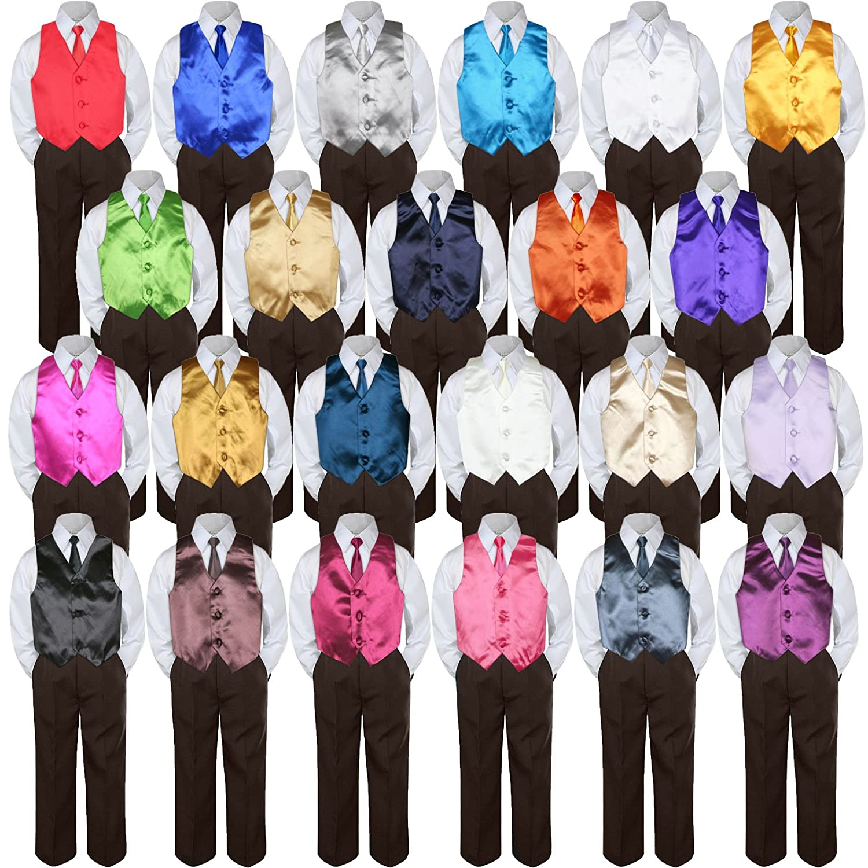 Leadertux 4pc Formal Baby Toddler Boys Black Vest Necktie Brown Pants Suits S-7 3T