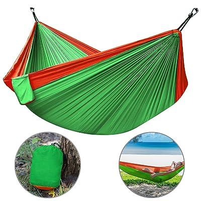 Camping Hammock, Hltd Double Hamac Hamac de nylon portatif léger pour randonnée, randonnée pédestre, camping, voyage de survie, jardin de plage avec sangles réglables et mousquetons en acier