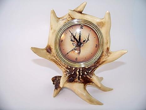 Amazon.com: slifka Wildlife Reloj de mesa de asta de ciervo ...