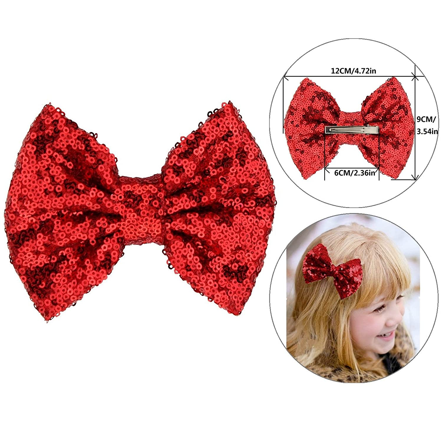 Girls Red Sequins Hair Barrette Clips with Alligator Bows Pin Professional Home