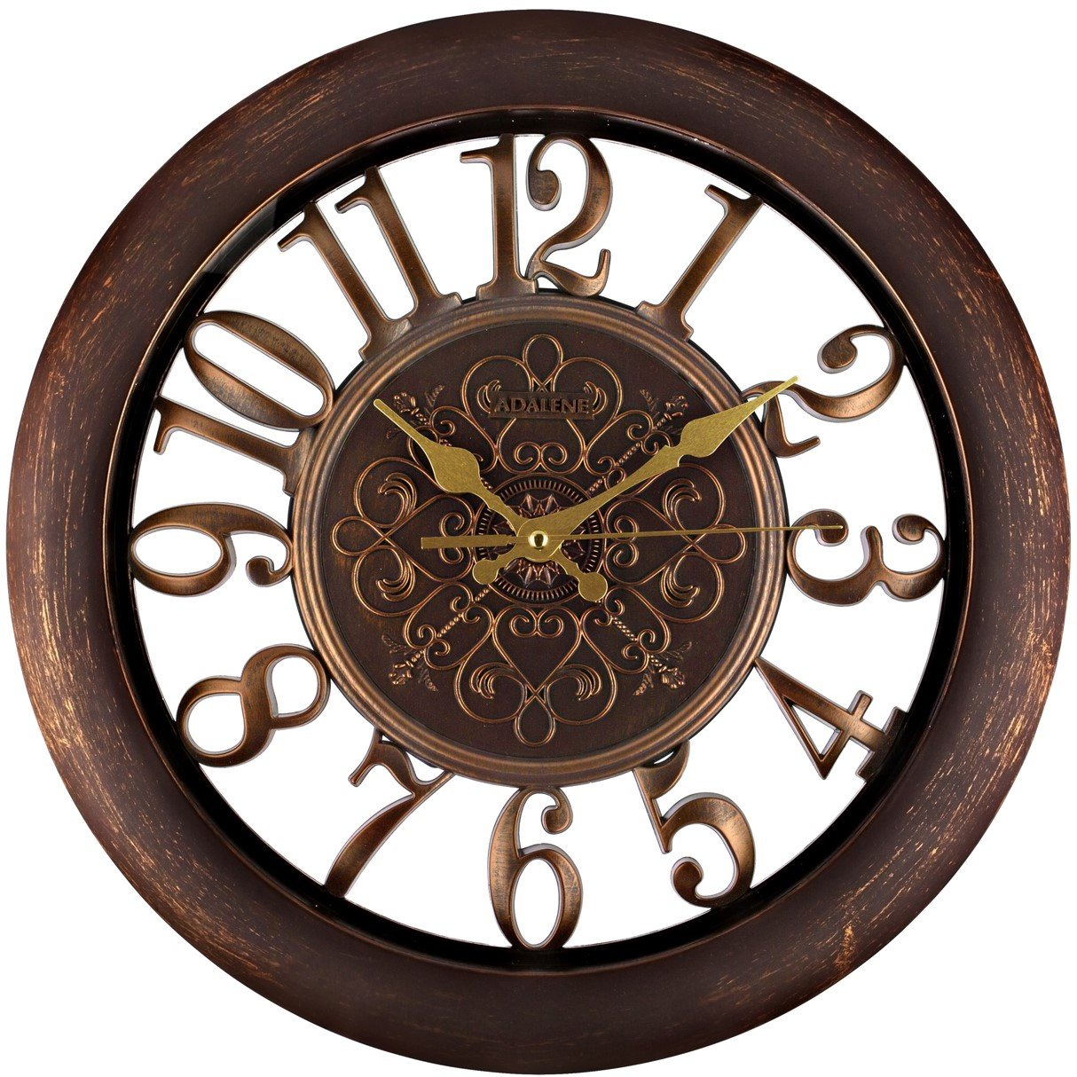 Adalene Wall Clocks Large Modern - Battery Operated Non Ticking 13 Inch Elegant Wall Clock Silent, Quiet Analog Quartz Home Decor Vintage Decorative Wall Clock for Living Room, Kitchen, Rustic Brown WSH0294