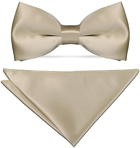 CRIXUS Krawatte klassisch Wei/ß Satin-Krawatte mit oder ohne Einstecktuch einfarbig Tuch Ma/ß 26 x 26 cm