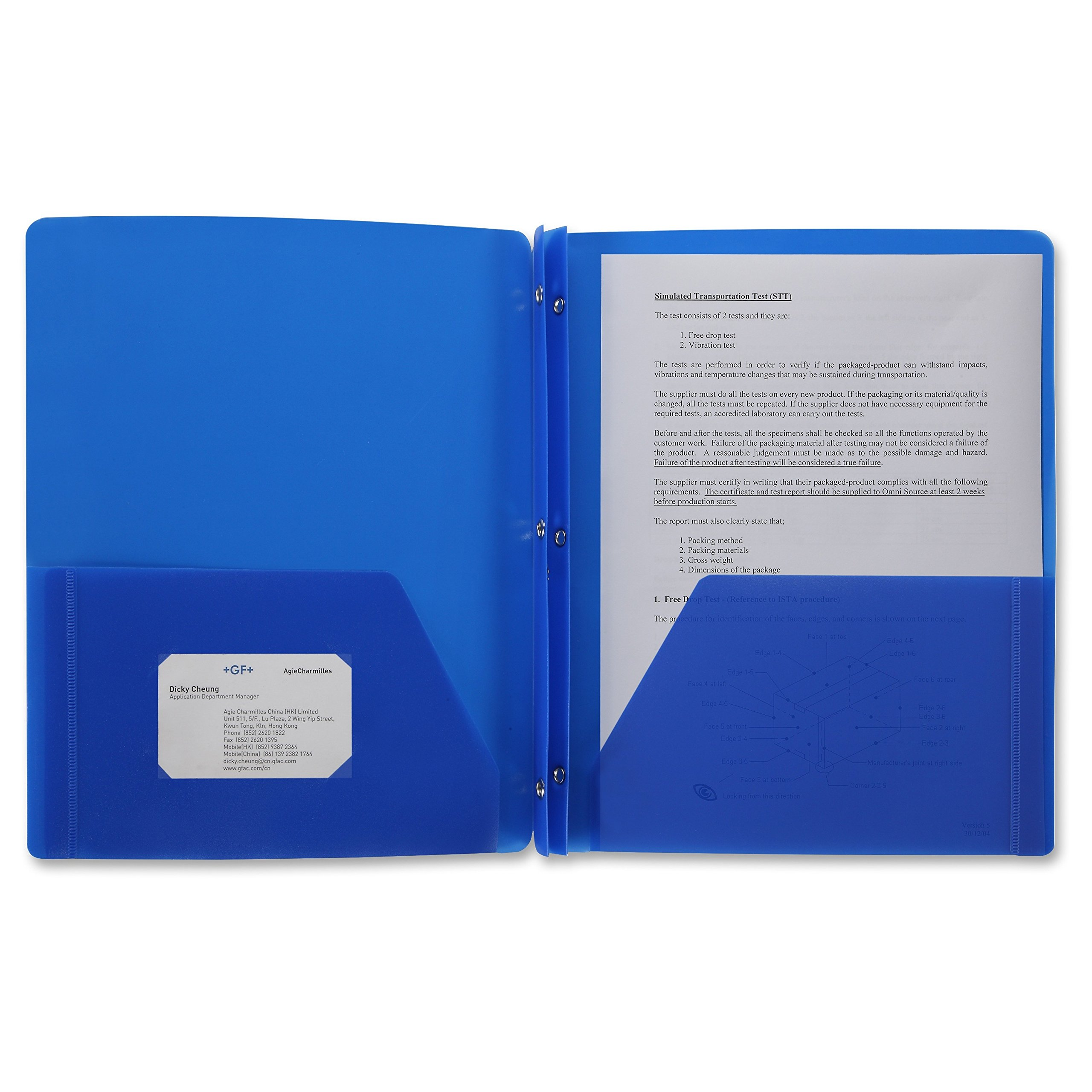 24 Pack Poly Plastic Portfolio School Folder Report Covers, 3 Hole Punched with Prongs, 8.5 x 11, Solid Colors, Durable, Spill Resistant/Water Resistant (Blue)