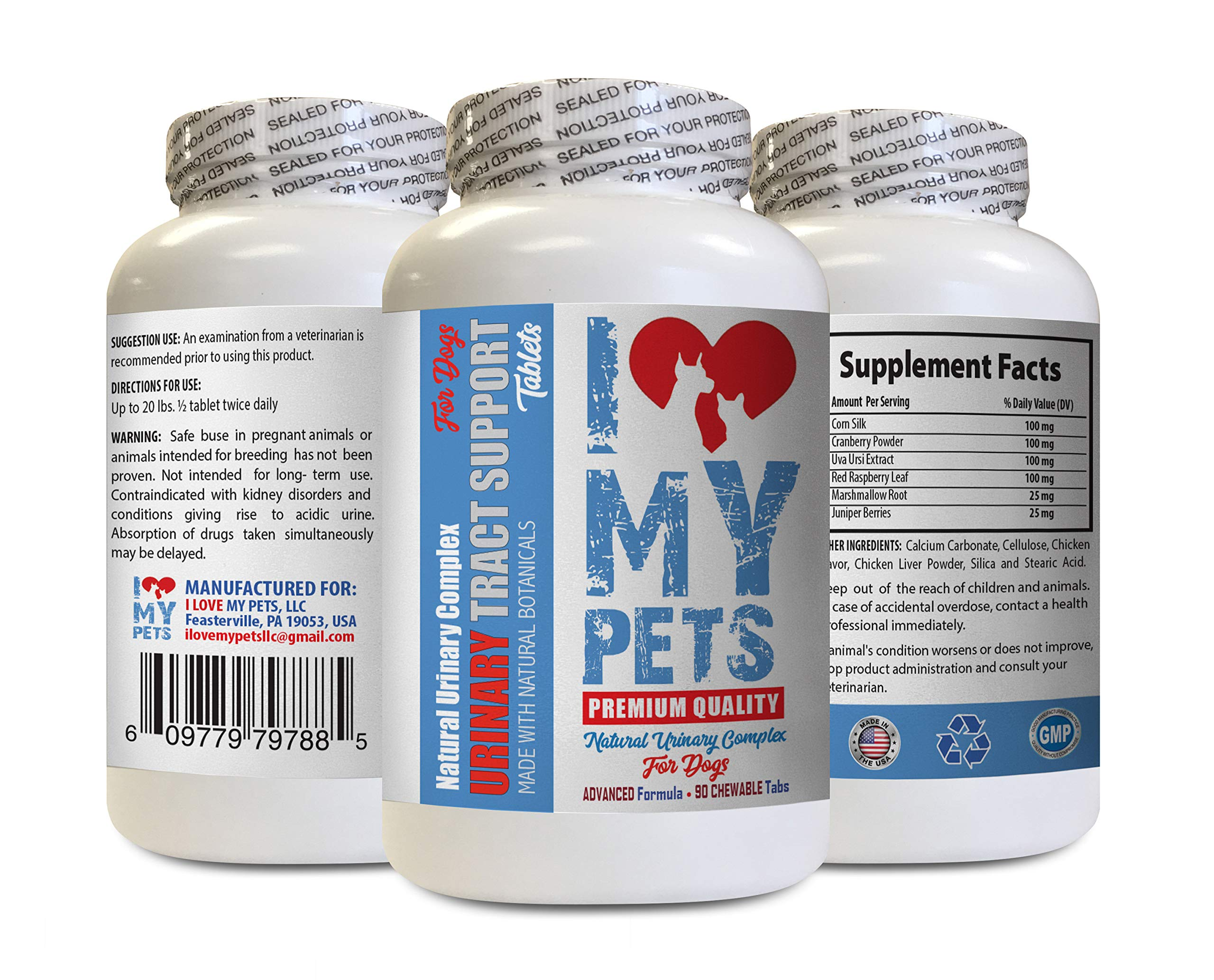 I LOVE MY PETS LLC Dog Urinary Tract Infection - Dog Urinary Tract Support - UTI Relief Complex - Quality - Corn Silk Dogs - 90 Treats (1 Bottle) by I LOVE MY PETS LLC