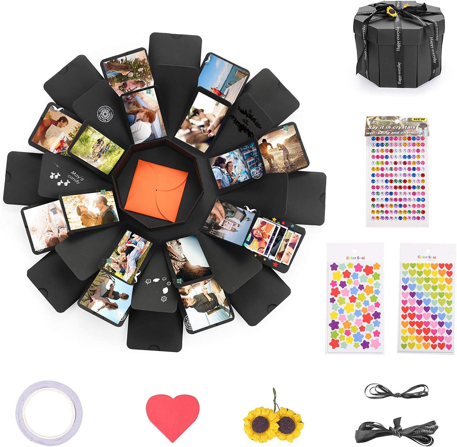 KATELUO Explosion Box Scrapbook Creative DIY Photo Album,Caja de Regalo Creative Explosion,La Caja de Regalo con 6 Caras,Regalos de cumpleaños (Negro)