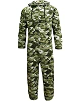 Mens Onesies Full Length Fleece Onesie Hooded All In One Jumpsuit Boys, Camouflage, Small - X Large