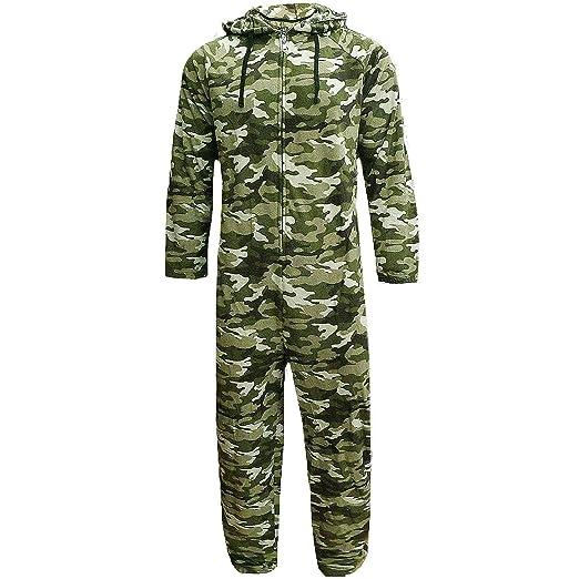 Mono jumpsuit para hombre, con forro polar, capucha, camuflaje, tallas chica a extra grande verde camouflage Small: Amazon.es: Ropa y accesorios