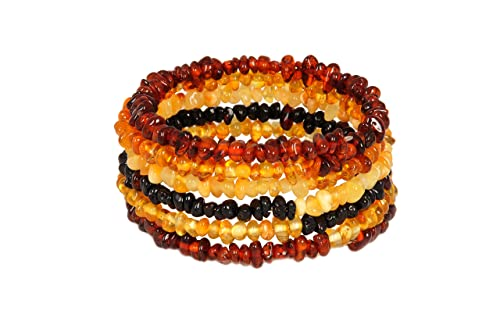 Natural Baltic Amber Bracelet for Adults - Hand made From Polished /Certified Baltic Amber Beads(Mul...