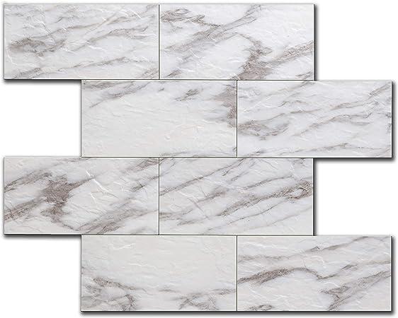 Peel Stick Wall Tile Kitchen Bathroom Backsplash Natural Gray Stone Slate Marble