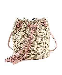 SODIAL Bolsa de mensajero Bolsas de playa de verano de tela de senora con borlas Bolsa de cuerpo cruzado tejida Banco de dinero tejido de mujer Bolso de playa de punto (Rosado)