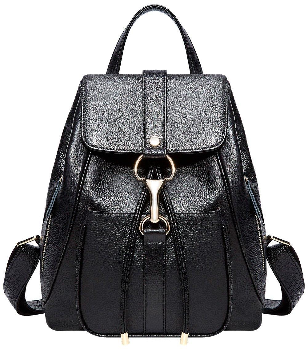 BOYATU Real Leather Backpacks Purse for Women Ladies Fashion Travel Shoulder Bag (Black) by BOYATU