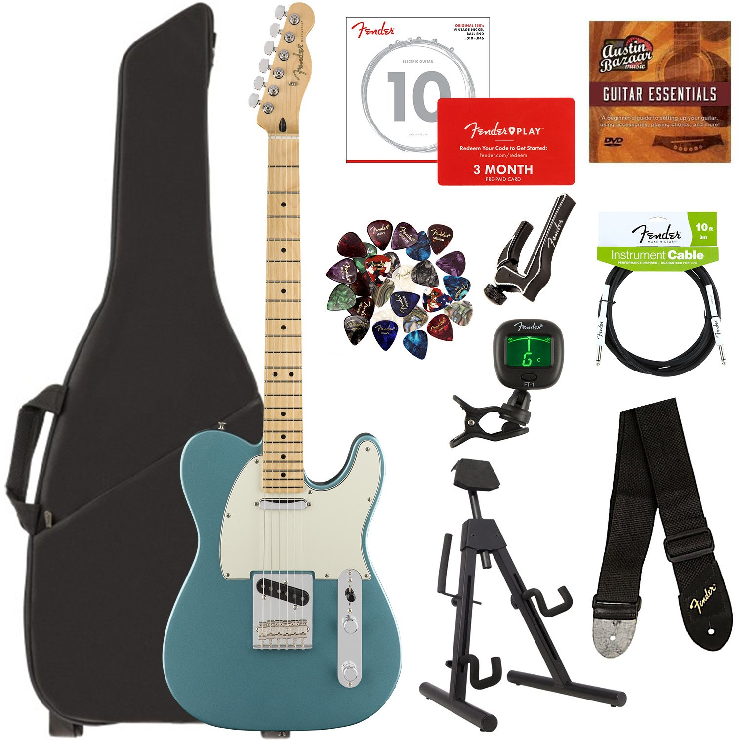 Fender Player Telecaster, Maple - Tidepool Bundle with Gig Bag, Stand, Cable, Tuner, Strap, Strings, Picks, Capo, Fender Play Online Lessons, and Austin Bazaar Instructional DVD