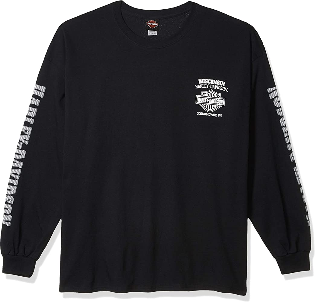 Harley-Davidson Mens Skull Lightning Crest Graphic Long Sleeve Shirt, Black: Amazon.es: Ropa y accesorios