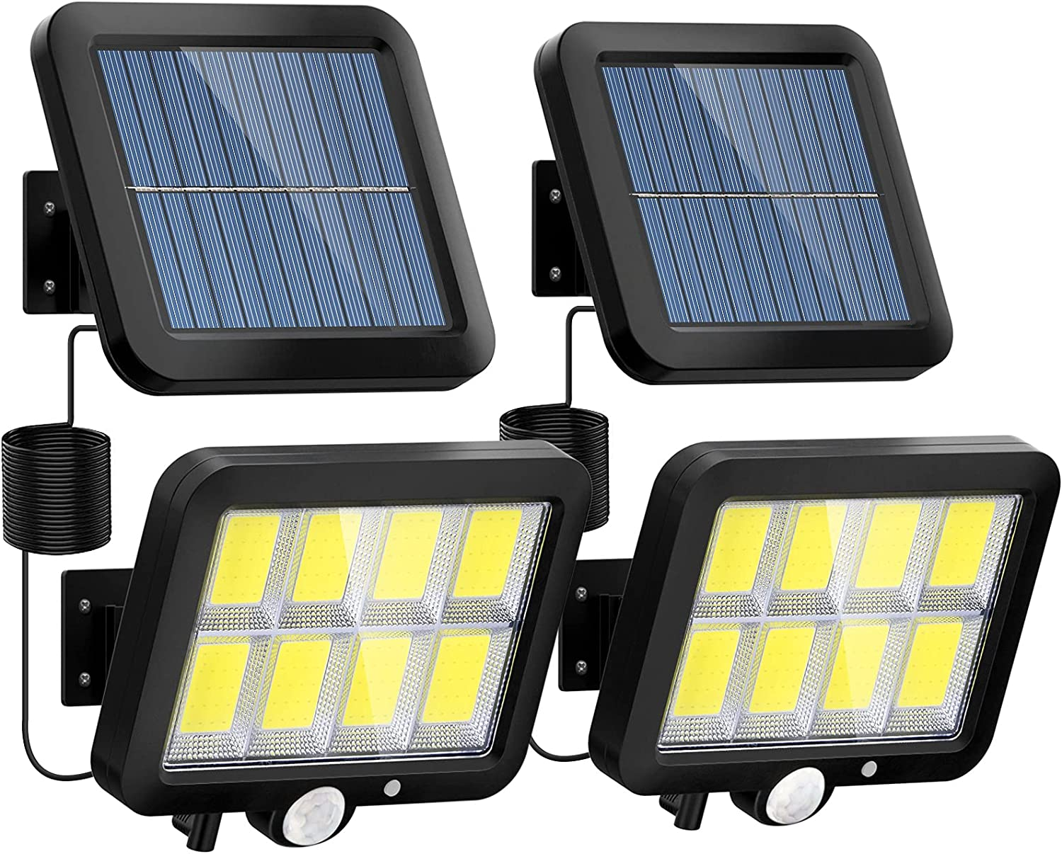 Solar Motion Sensor Light Outdoor, 320 Bright COB LED, 16.4Ft Cable, 3 Working Mode, Adjustable Solar Panel, Wired Solar Powered Security Flood Lights for Indoor Use, Wall, Yard, Garage, Garden(2 Set)