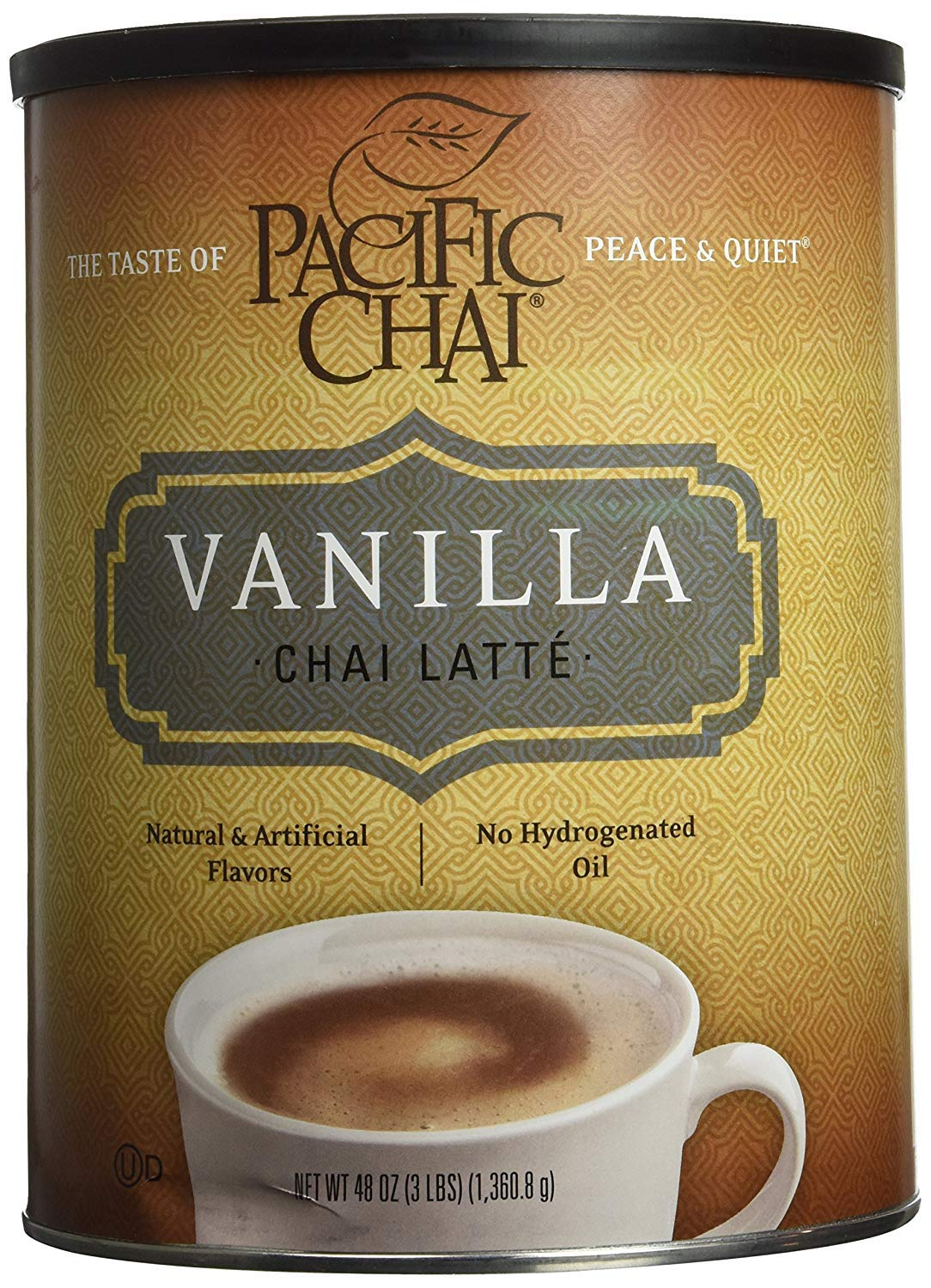 Pacific Chai Vanilla Instant Powdered Chai mix, 48oz canister ( Packaging may vary ) by Pacific Chai
