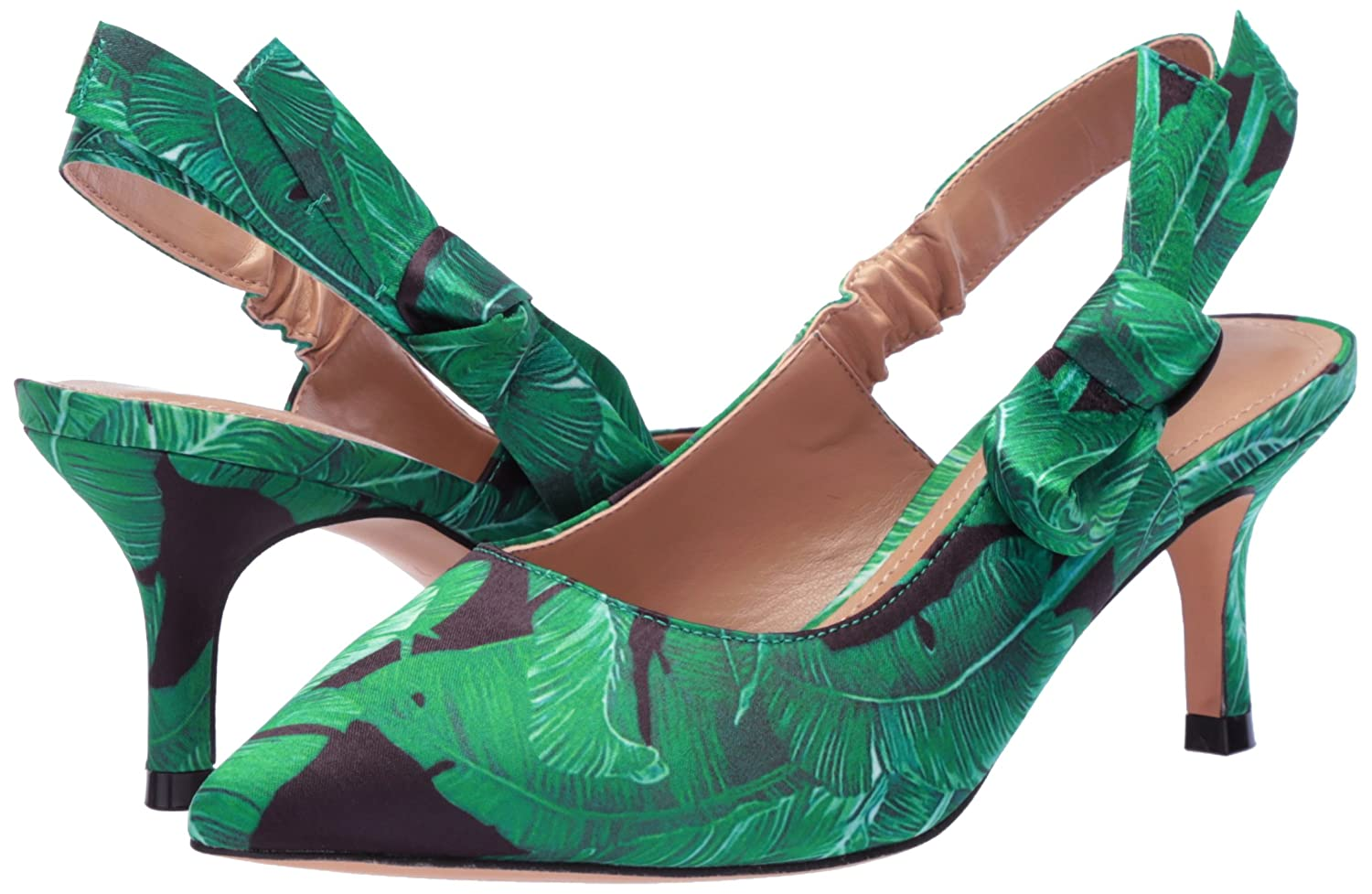 The Fix Women's Fatina Kitten Heel Slingback Pump B076ZVQ1PF 7 B(M) US|Black Leafy Palm Print Satin