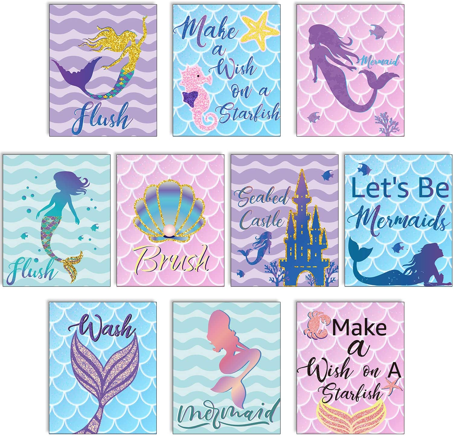 Blulu 10 Pieces Let's Be Mermaids Poster Ocean Mermaid Sign 12.4 x 10.2 Inch Unframed Art Print for Mermaid Party Girls Bedroom Bathroom Home Decor