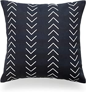 """Hofdeco African Mudcloth Pillow Cover ONLY, Black Case Arrowhead, 18""""x18"""""""